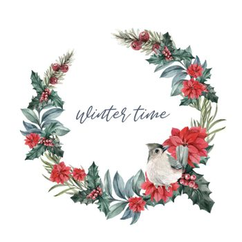 Winter bloom wreath design with poinsettia, holly berry, bird watercolor illustration.