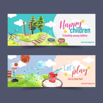 Playground banner design with jungle gym, trampoline watercolor illustration.