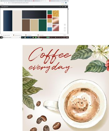 cappuccino coffee arabica beans with branch leaves coffee, watercolor illustration