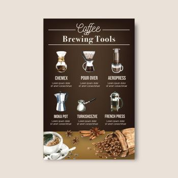 coffee arabica roast beans burn with bag. coffee maker, infographic design watercolor illustration