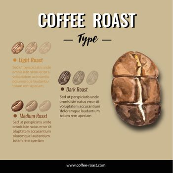 coffee arabica roast beans burn type, infographic design with text space, watercolor illustration