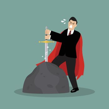Businessman try to pull sword from stone