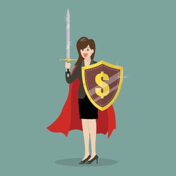 Business woman with shield and sword