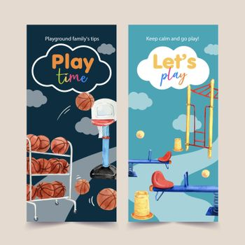Playground flyer design with watercolor illustration.