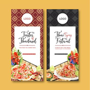 Thai food flyer design with papaya salad, Pad Thai illustration watercolor.