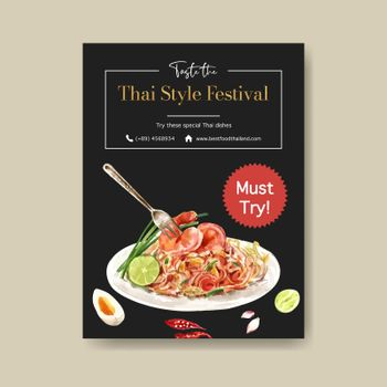 Thai food poster design with Pad Thai illustration watercolor.