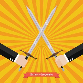Businessman fighting with swords