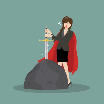 Business woman try to pull sword from stone