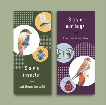Insect and bird flyer design with dragonfly, butterfly, bird watercolor illustration.