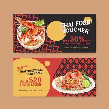 Thai food voucher design with tom yum, pad thai illustration watercolor.
