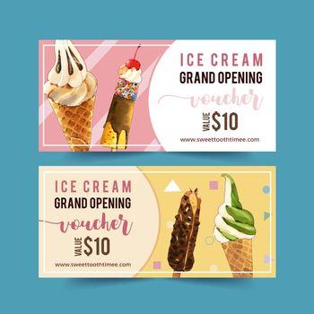 Ice cream voucher design with chocolate, vanilla watercolor illustration.