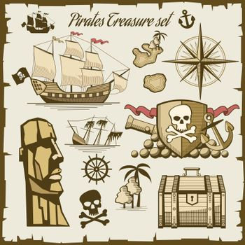 Pirate objects vector set