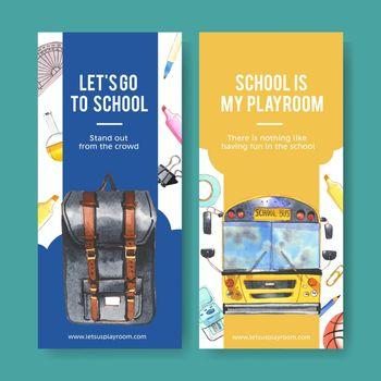 School flyer design with school bus, school bag watercolor illustration.