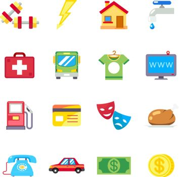 Monthly expenses, costs flat vector icons