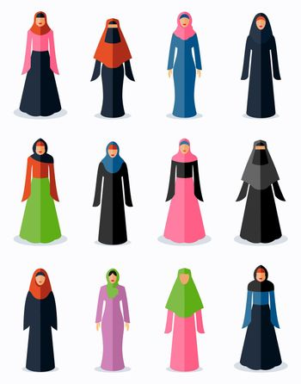 Muslim woman flat icons