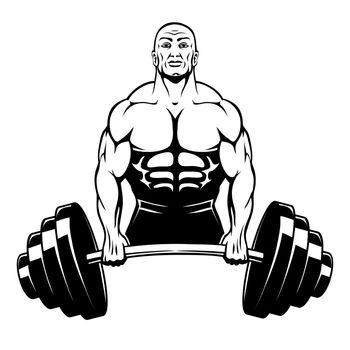 Vector muscle man bodybuilder