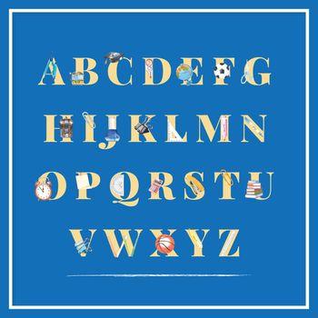School alphabet design with school bag, school bus watercolor illustration.