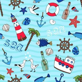 Nautical seamless pattern in retro style