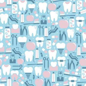 Dental Care Graphics on Blue Background