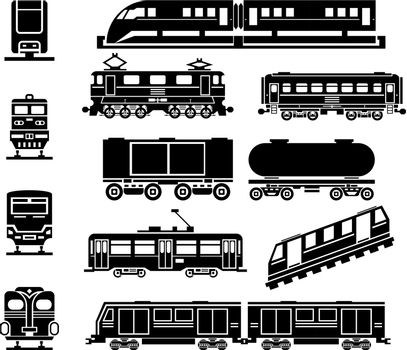 Passenger and public rail city transport black icon vector set