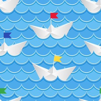 Paper boats sailing on blue paper water