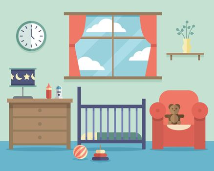 Nursery baby room interior with furniture in flat style