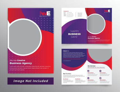 Colorful bifold business brochure design with background pattern