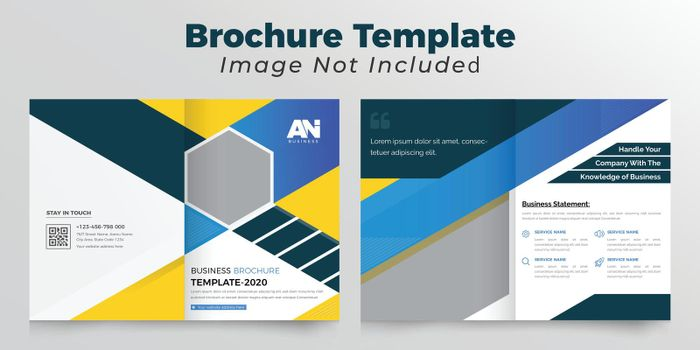 Blue and yellow color abstract bifold brochure deisgn