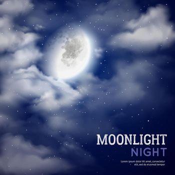 Moonlight night illustration