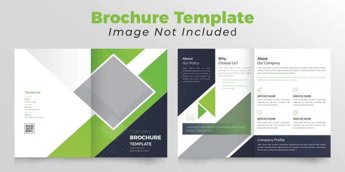Green and black color bifold brochure with background abstract