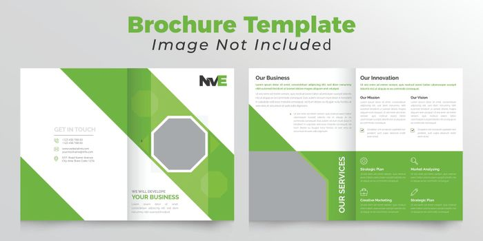 Polygonal bifold business brochure design with green color