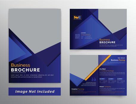 Dark style bifold business brochure design template
