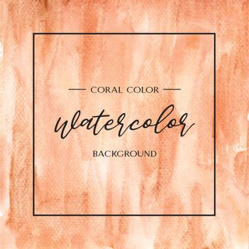 Coral color Trendy sea shell watercolor and gold gouache texture background print wallpaper vector illustration design for banner, poster, magazine