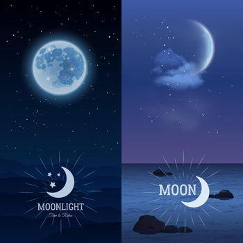 Moonlight banners vertical set