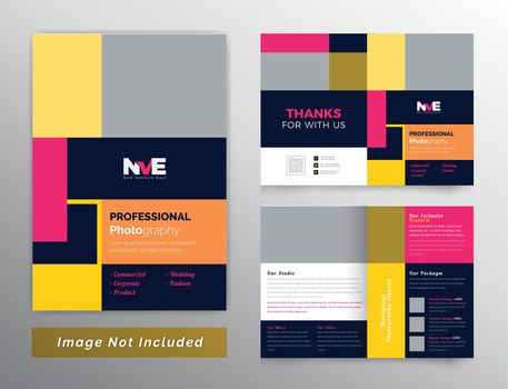 Photography colorful bifold brochure deisgn template