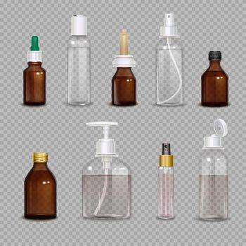 Realistic Bottles On Transparent Background