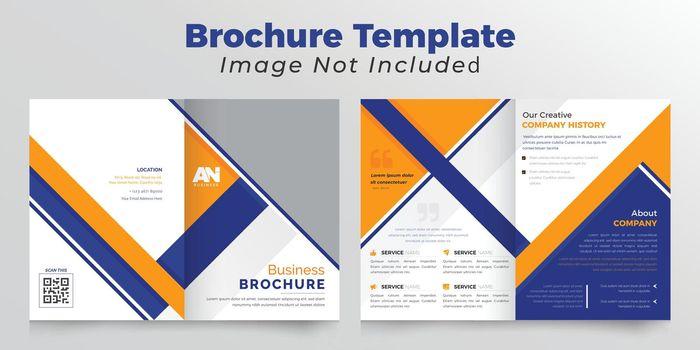 Orange and dark blue  Business  bifold brochure deisgn