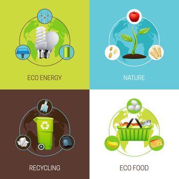 Set Of Ecology Concept Illustrations