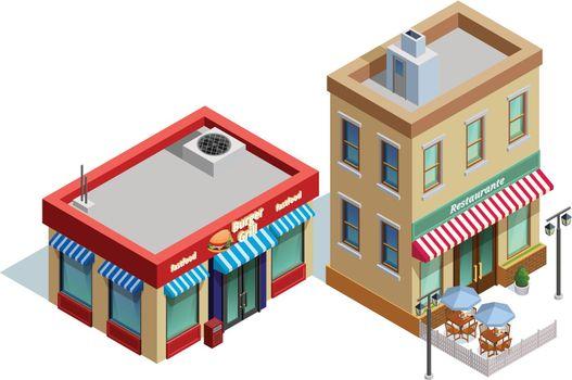 Restaurant Buildings Composition