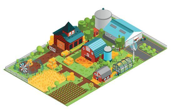 Rural Farm Isometric Composition