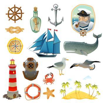 Sea Nautical Decorative Elements Set
