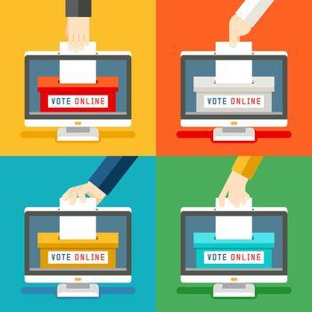 Online voting hands
