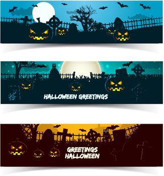 Halloween Greetings Banners Set
