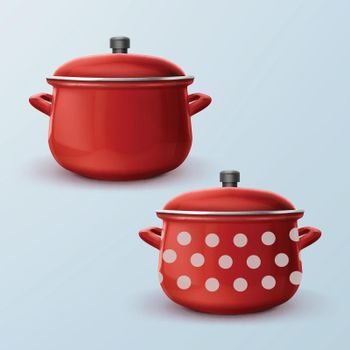 Two red saucepan