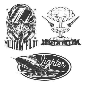 Set of aviation emblems, labels, badges, logos. Isolated on white.