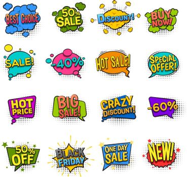 Sale Comic Icons Set