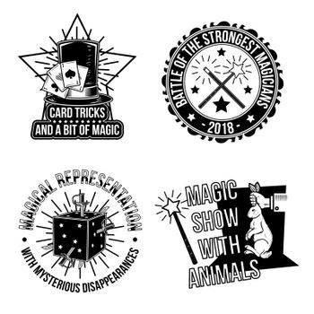 Set of magical emblems, labels, badges, logos. Isolated on white.