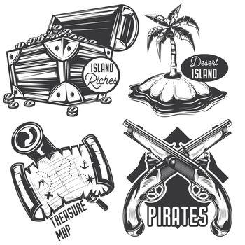 Set of treasure emblems, labels, badges, logos. Isolated on white