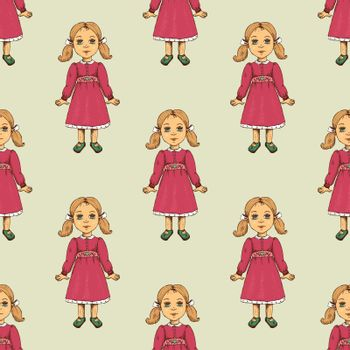 Seamless pattern with doll