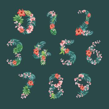Number Tropical Alphabet typographic design summer with plants foliage, creative watercolor vector illustration design